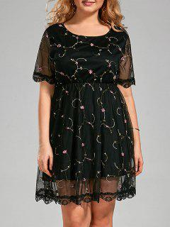 Plus Size Embroidered Semi Sheer Dress With Lace Trim - Black 4xl