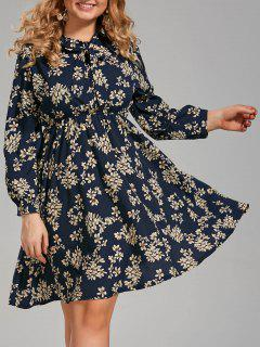 Plus Size Long Sleeve Floral Pussy Bow Dress - Purplish Blue 4xl