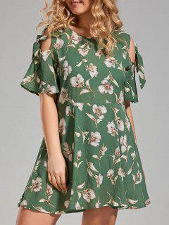 Plus Size Floral Cold Shoulder Skater Dress - Green 3xl