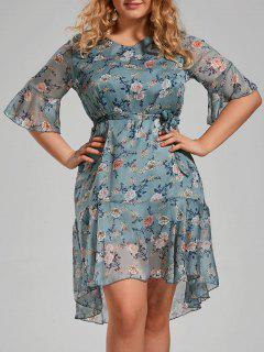 Plus Size Floral Printed Organza Ruffle Dress - Medium Blue 3xl