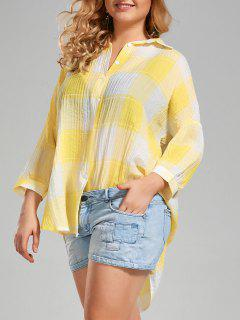 Plus Size Long High Low Plaid Button Up Shirt - Yellow Xl