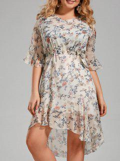Plus Size Floral Printed Organza Ruffle Dress - White 4xl