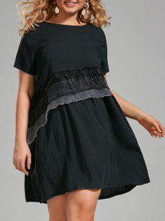Plus Size Voile Ruffle Panel T-shirt Dress - Deep Gray 3xl
