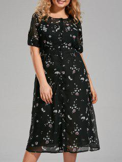Plus Size Floral Printed Chiffon Midi Dress - Black 4xl