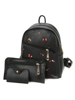 Heart Embroidered PU Leather Backpack Set - Black