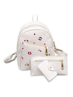 Heart Embroidered PU Leather Backpack Set - White