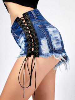 Lace Up Frayed Distressed Denim Shorts - Denim Blue Xl