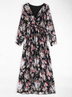 Floral Belted Maxi Surplice Dress - Black Xl