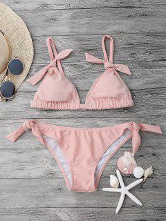 Tie Knot Padded Bikini Set - Pink L