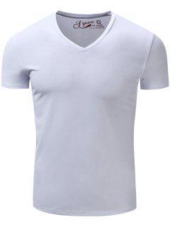 V Neck Slimming Short Sleeve T-Shirt - White L