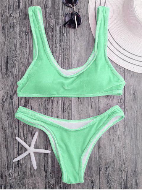 Ensemble de bikini en velours col bas - Pomme Verte M Mobile