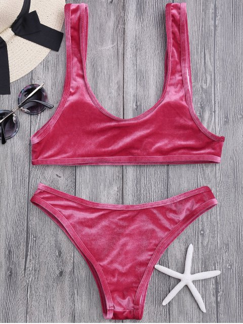 latest Velvet Bralette Scoop Bikini Set - CLARET L Mobile