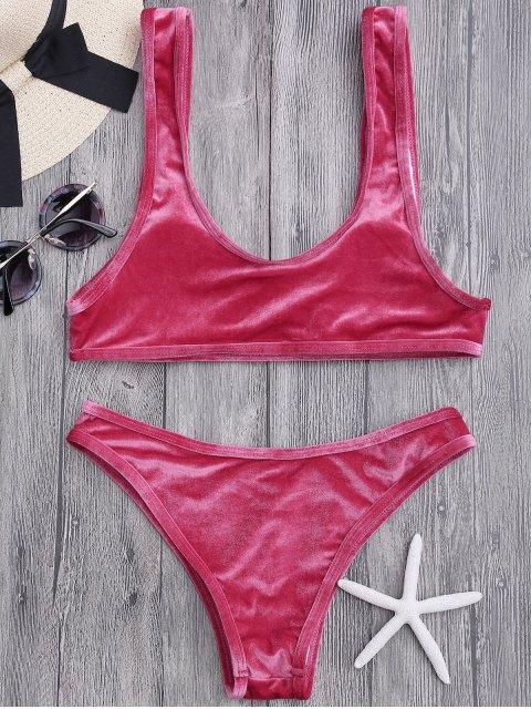 fashion Velvet Bralette Scoop Bikini Set - CLARET S Mobile
