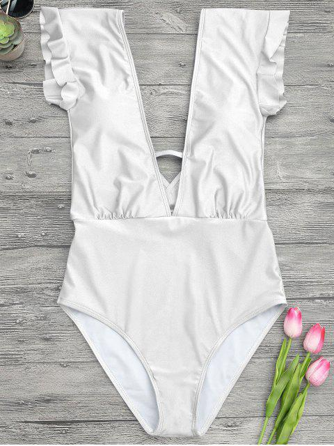 online Frilled Plunge One Piece Swimsuit - WHITE L Mobile