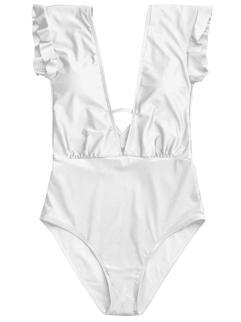 hot Frilled Plunge One Piece Swimsuit - WHITE S Mobile