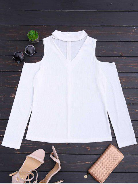 womens Cold Shoulder Cut Out Ribbed Knitted Tee - WHITE L Mobile