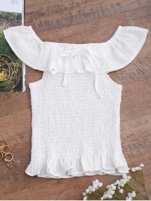 women's Ruffles Off Shoulder Smocked Cover Up Top - WHITE ONE SIZE Mobile