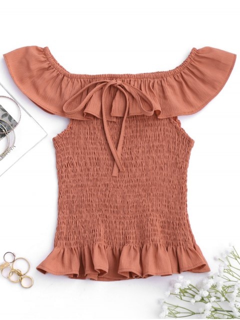 ladies Ruffles Off Shoulder Smocked Cover Up Top - BRICK-RED ONE SIZE Mobile