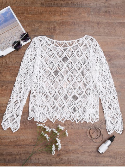 lady Hollow Out Cover Up Top - WHITE ONE SIZE Mobile