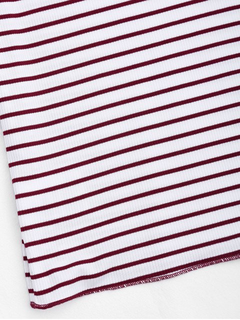 outfit Knitted Ribbed Stripes Ruffles Top - STRIPE L Mobile