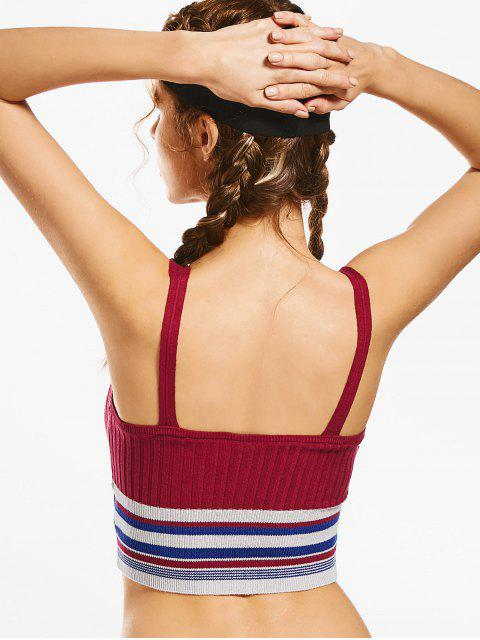 lady Knit Ribbed Plunging Neck Striped Sporty Top - BURGUNDY M Mobile
