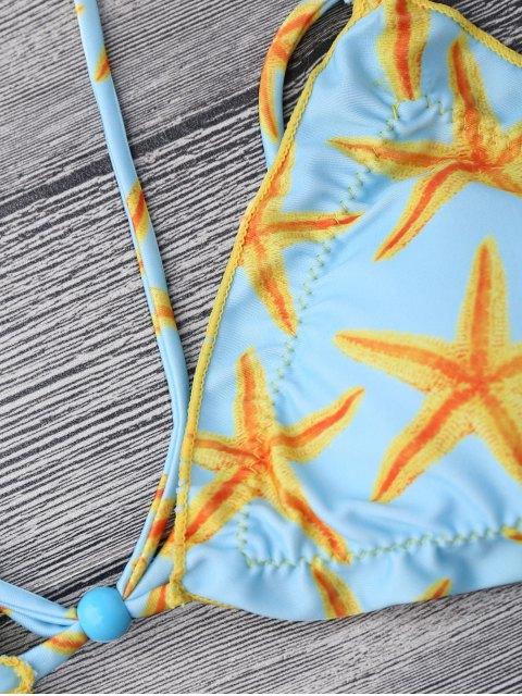 new Starfish Print Padded Strappy Bikini Set - BLUE AND YELLOW L Mobile