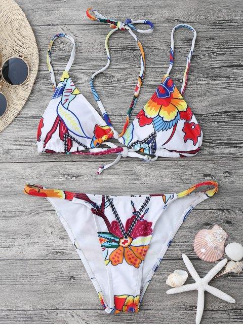 Ensemble de bikini imprimé à motif floral et à bretelles - Blanc L Mobile