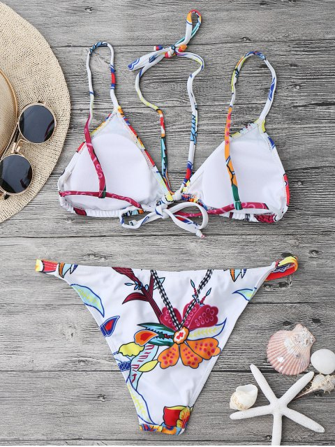 outfits Printed Strappy String Bikini Set - WHITE L Mobile