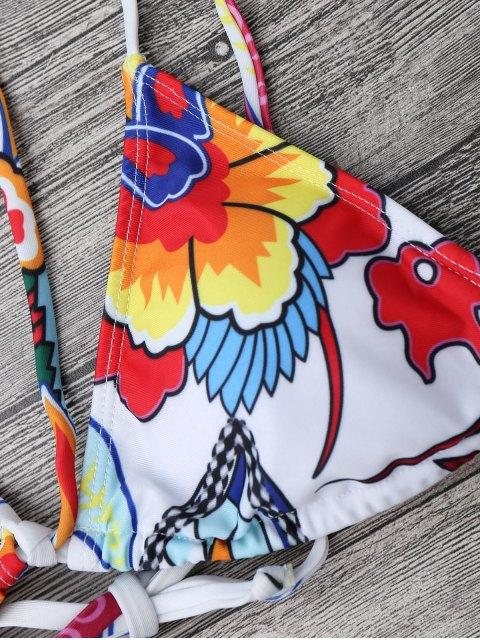 shops Printed Strappy String Bikini Set - WHITE S Mobile