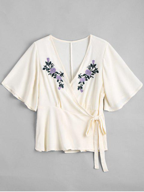 outfits Floral Embroidered Ruffles Wrap Top - OFF-WHITE L Mobile