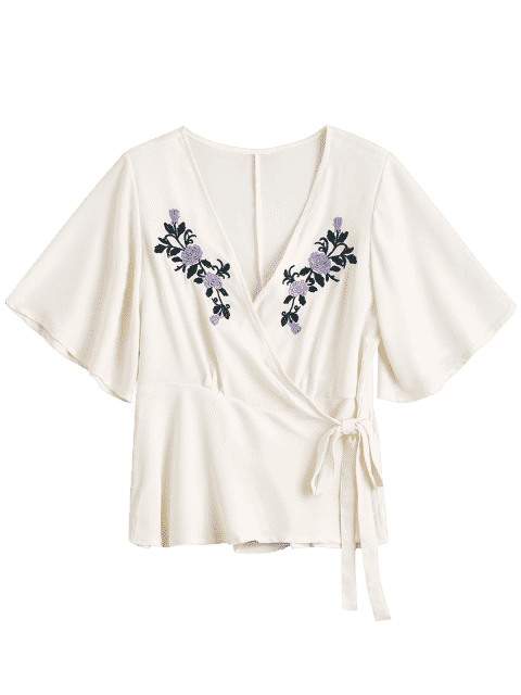 shop Floral Embroidered Ruffles Wrap Top - OFF-WHITE M Mobile