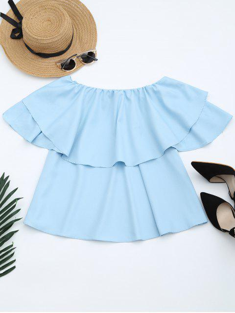 shops Flounce Off The Shoulder Blouse - LIGHT BLUE M Mobile