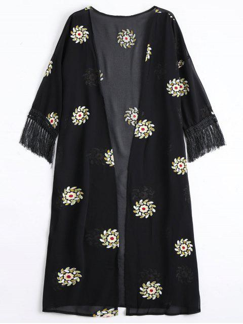 buy Floral Patched Fringed Longline Blouse - BLACK ONE SIZE Mobile