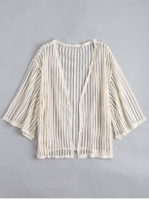 ladies Open Front Semi Sheer Striped Blouse - APRICOT ONE SIZE Mobile