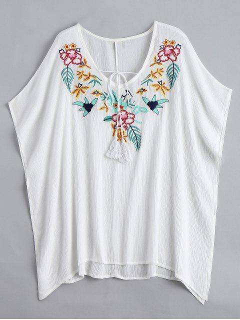 best Floral Pacthed Butterfly Sleeve Blouse - WHITE ONE SIZE Mobile