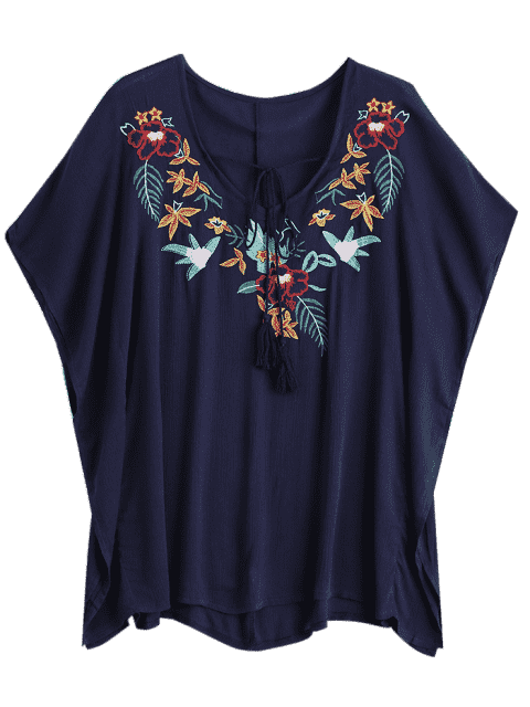 outfit Floral Pacthed Butterfly Sleeve Blouse - PURPLISH BLUE ONE SIZE Mobile