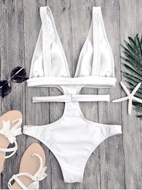 fancy Cut Out Plunging Neck Bandage Swimwear - WHITE L Mobile