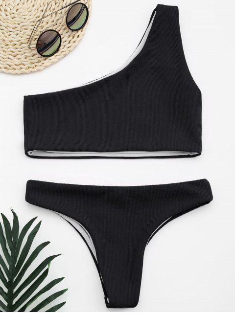 lady Ribbed Texture One Shoulder Bikini - BLACK M Mobile