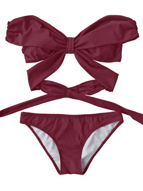 hot Padded Off Shoulder Wrap Bikini Set - BURGUNDY M Mobile