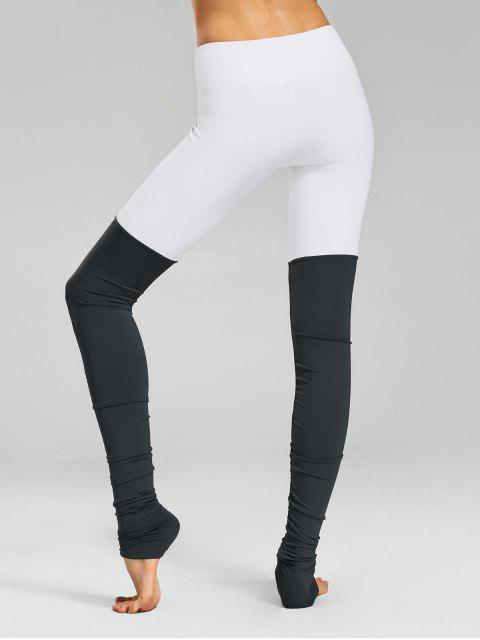 sale Color Block Ruched Overlength Sporty Leggings - GREY AND WHITE L Mobile