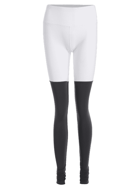 affordable Color Block Ruched Overlength Sporty Leggings - GREY AND WHITE M Mobile