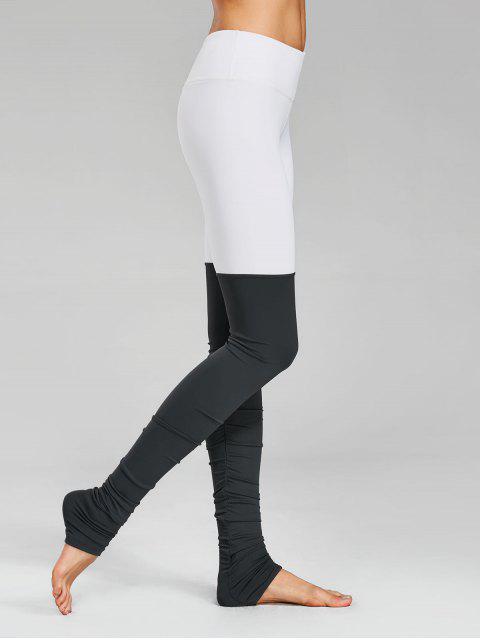 Bloc de couleurs à manches longues Leggings sportives - Gris et Blanc S Mobile