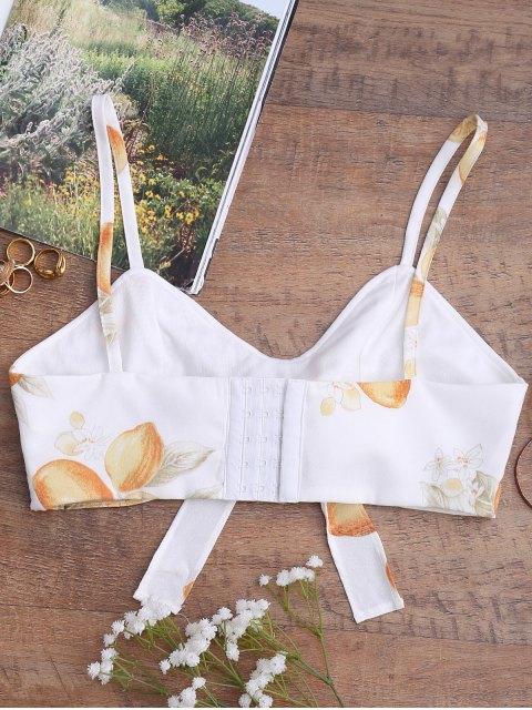 chic Bowknot Tied Lemon Print Top - WHITE L Mobile
