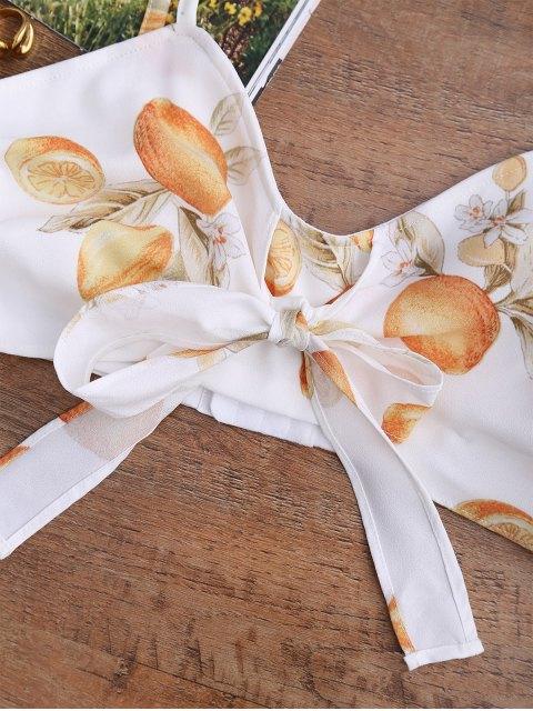 unique Bowknot Tied Lemon Print Top - WHITE S Mobile