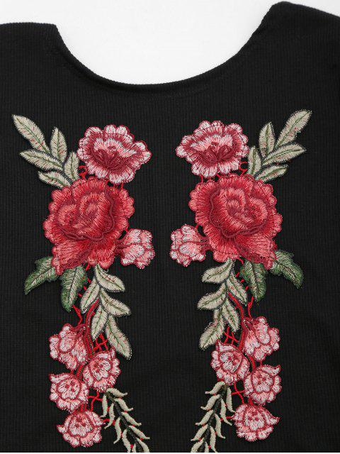 sale Back Low Cut Floral Applique Top - BLACK XL Mobile
