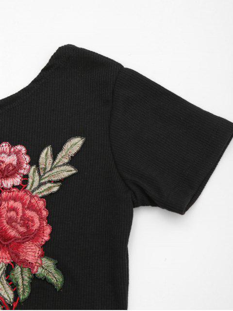 affordable Back Low Cut Floral Applique Top - BLACK L Mobile