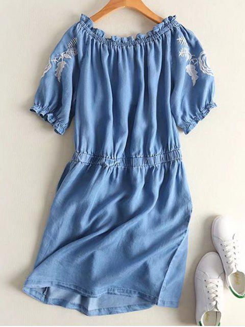 women Off Shoulder Ruffles Embroidered Casual Dress - DENIM BLUE L Mobile