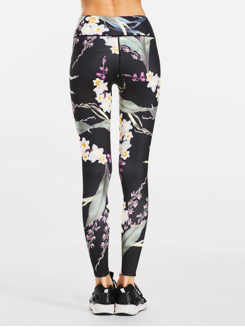 women Stretchy Slimming Floral Sporty Leggings - BLACK L Mobile