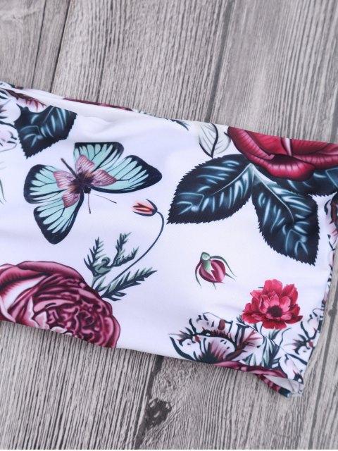 buy Floral Frilled Off The Shoulder Bikini Set - WHITE S Mobile