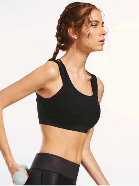 affordable Mesh Panel Full Cup Padded Sporty Bra - BLACK L Mobile